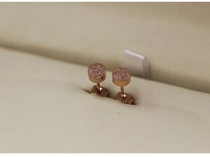 Rose Gold Silver Titanium Stainless Steel Round Cut Stud Earrings 5mm Box PE49