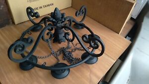 Vintage Wrought Iron Chandelier Candle Light Fixture