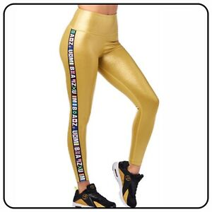 Zumba Fitness Gym Gold Metallic High Waisted Ankle Leggings Ladies Large