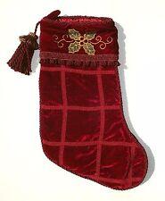 Red Velvet Christmas Stocking w/ Braided Trim, Holly Applique & Tassel