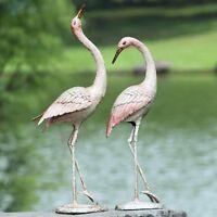 Flamboyant Crane Garden Bird Pair Statue Sculpture Heron Cast Iron SPI 50900