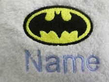 BATMAN design on Hooded Towels Bath Robes and PERSONALISED Gift Embroidered