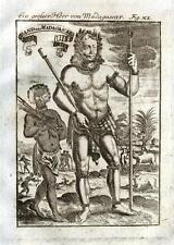 Madagascar GRAVURE ANTIQUE PRINT Allain Mallet 1719 grande ou King & Natives