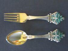 1932 A. Michelsen Sterling Silver Children Around the Tree Spoon & Fork Set