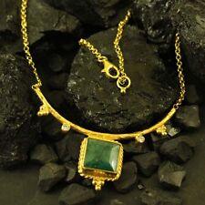 Handmade Hammered Designer Natural Emerald Necklace 22 Gold Over Sterling Silver