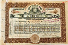 Hydraulic-Press Brick St. Louis Missouri stock certificate > H W ELIOT autograph