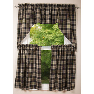 """Richman Black with Gray and Cream 72"""" x 36"""" Lined Cotton Curtain Tiers by Raghu"""
