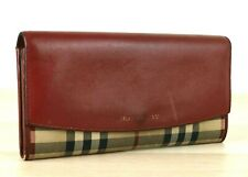 Auth Burberry Nova Check & Red Leather Long Wallet Purse, Hand Bag Italy Used