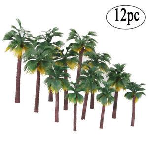 12pcs Layout Rainforest Plastic Palm Tree Diorama Scenery -root color is random