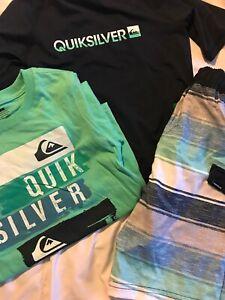 Boy's Swim Suit shorts trunks Set Size 6 Rash Guard Bonus Shirt Quicksilver New