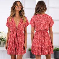 SEXY Damen Minikleid Mini Kleid Sommer Strand Clubwear V Ausschnitt 34-42 BC702