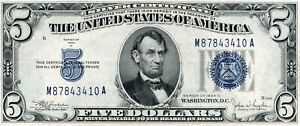 NICE!      UNC 1934    C  $5 Silver Cert.  Blue Seal  fr1653    3410
