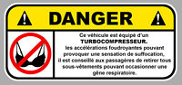 DANGER TURBO SOUTIEN GORGE JDM FUN AUTOCOLLANT STICKER 12cmX5,5cm  DA167