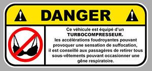 DANGER TURBO SOUTIEN GORGE JDM FUN AUTOCOLLANT STICKER 12cmX5,5cm  DA167