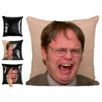 DWIGHT SCHRUTE LAUGHING SEQUIN PILLOW MAGIC REVEAL MERMAID CUSHION