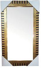 SPECCHIO parete di grandi dimensioni 59 x 29 con kit da appendere Oro & Nero Legno Da Appendere Specchio
