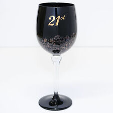 21st Birthday Wine Glass Gift Premium Engraved Piano Black Sparkle Gift Boxed