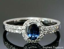 Halo Natural Sapphire White Gold Fine Rings