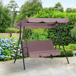 3 Seater Swing Chair Outdoor Glider Cushioned Seat Portable Patio w/ Tile Canopy