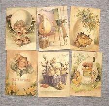 Set of 18 Vintage Antique Look Easter Labels Victorian Primitive Grungy Atc size