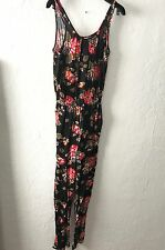 Womens DIVIDED H M Jumpsuit Pants Romper, Floral Flowers, Cuffed, Pockets, 4