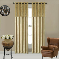 Crushed Velvet panel Faux Silk Eyelet Curtains, Fully Lined 7 Sizes Available