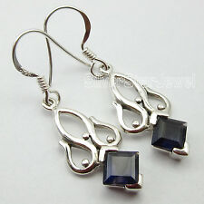 Original SQUARE CUT IOLITE Gemstone, 925 STERLING Silver HANDMADE Earrings 1.5""