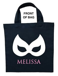 Catwoman Trick or Treat Bag, Personalized Catgirl Bag, Double Sided Catgirl Bag