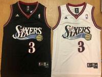 NWT Allen Iverson 3 Philadelphia 76ers H.W.C. Men's Throwback Black/White Jersey