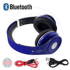 Wireless Bluetooth 4.2 Stereo Headsets Foldable Blue Headphone Mic FM Radio DCUK