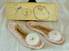 Vtg 50s Womens Pink Crocheted Shoes Slippers Gustave Of The Virgin Islands S 4-5