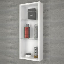 Bathroom Cloakroom 300mm Patello Wall Hung Storage Unit White With Glass Shelves