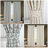 Eyelet Ring Top Heavy Jacquard Ready Made Thick Fully Lined Curtains Pair Panel