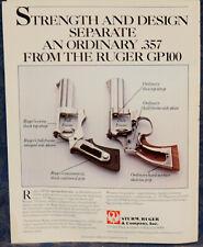"""ORIGINAL Advertising """"RUGER Model GP100 .357 Magnum REVOLVER"""" 1-p Magazine 1988"""