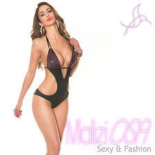 Monokini Costume da bagno intero donna swimwear nero moda mare trikini