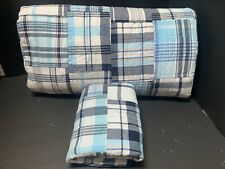 Pottery Barn Kids Blue AQUA Plaid MADRAS TWIN Quilt + Sham Bedroom Bed Reverse