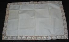Antique Thick Linen Tablecloth Lace Trim Royal Crown Design 48 x 33 Cream