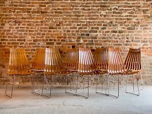 Scandia Dining Chairs Hans Brattrud Teak By Hove Mobler Set of 8 Circa 1960s