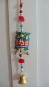Indian Owl Bell Hanging Decoration Fair Trade Ethnic Tribal Home Decor Gift