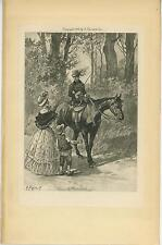 ANTIQUE EQUESTRIAN COSTUME HORSE SADDLE RIDER VICTORIAN MOTHER BOY CHILD PRINT