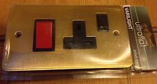 Ultraflat Varilight 45A Cooker Panel 13A Switched Socket Brushed Brass BNIB