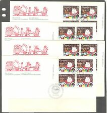 CANADA 1985, SANTA CLAUS PARADE, CHRISTMAS, Sc 1067-1069 all pl. bl. on FDC's