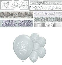 25th SILVER WEDDING ANNIVERSARY BANNERS 8 DESIGNS PARTY DECORATIONS