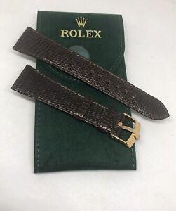 Vintage Rolex 20 Brown Lizard Strap w/ 16mm Rolex Rose Gold Buckle & Rolex Pouch