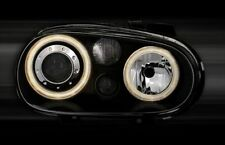 BLACK R32 STYLE ANGEL EYE HEADLIGHTS HEADLAMPS VW GOLF MK 4 MK4 1997-09/2003 t2