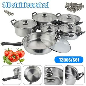 12X Induction Non Stick Stainless Steel Cookware Kitchen Glass Lids Pot Pans Set