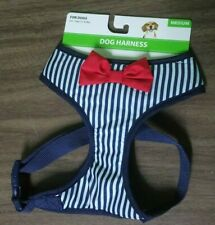 Dog Harness, Blue & White Pinstripe, Red Bow , Medium, Walking, Puppy, Pet Gift