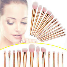 12Pcs Set Pinceles Maquillaje de Sombra Ojos Fundación Polvo Cepillo Brochas Kit