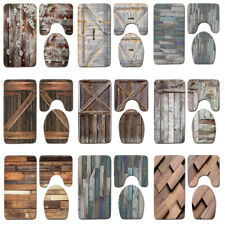 Bath Mats Set Barn Door Wood Grain Plank Texture Toilet Seat Mat Bath Rug