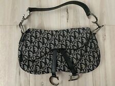 Authentic Christian Dior Trotter Double Saddle Bag Canvas Black White Preowned